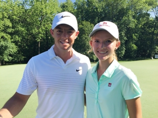 Grace Vaughan teamed up with Rory Mcllroy at the Wells Fargo Pro-Am in Charlotte