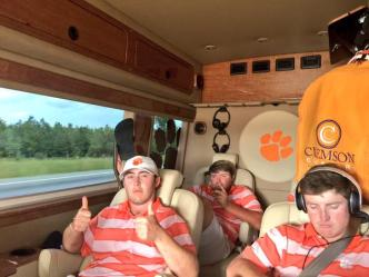 Austin Langdale and the Tigers enjoying the ride home from Chapel Hill.