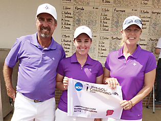 Taylor Totland of Furman is on her way to the NCAA finals. Assistant coach Jeff Hull and head coach Kelly Hester join in the celebration. Photo from Furman