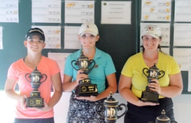 Kerrington Lamb (center) won the girls 13-15 year old title. Victoria Hall was second and Katie Whitfield was third.