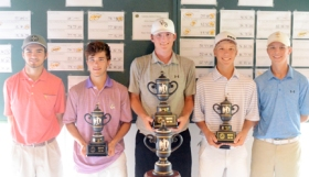 Upstate Junior 16-18 top finishers. (l-r) Rhett Merritt, Miles Baldwin, Reed Bentley, Jordan Warnock, Colt Martin