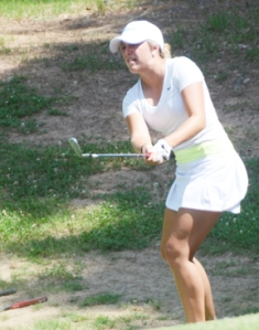 Maddisen Cox of Pickens held a three hole lead on the back nine in her semi-final match with Dawn Woodard.