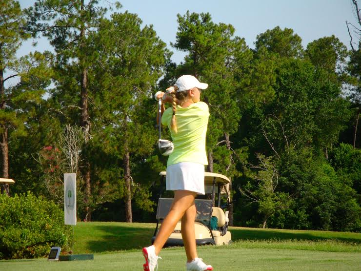 Ashley Czarnecki tees off in the final round of the WSCGA Girls Championship at Sunset Country Club in Sumter