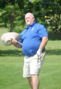Marty Henson watches his drive on the final hole at the Southern Oaks Open.