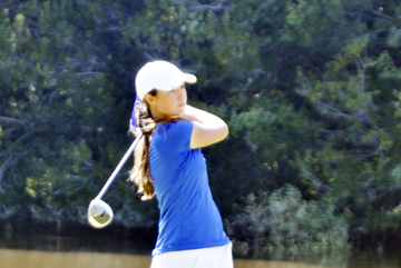 Gracyn Burgess is tied for second going into the final round of the Twin-State Girls. (file photo)