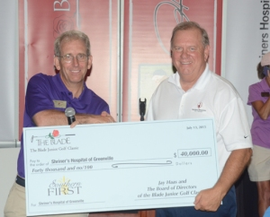 The Shriners Hospital for Children received $40,000  from The Blade Junior Golf Classic.