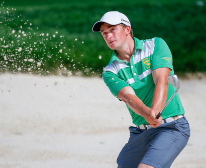 Paul Dunne of Ireland takes on Caleb Proveaux in the round of 32. Picture from USGA