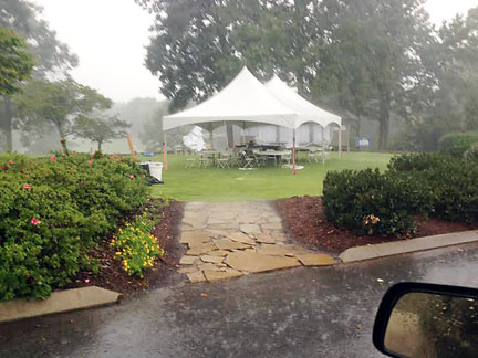 Rain halted play twice during the first round of the SC Amateur.
