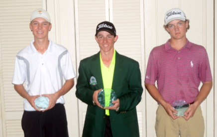 The top-three boys finishers at the Cobb's Glen Junior were (l-r) Colt Martin, third, Jake Martin, center, Levi Moody, right.