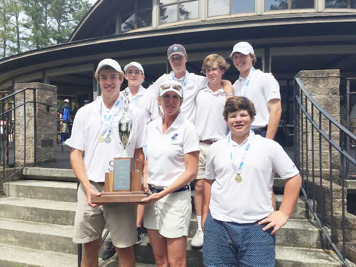 State Champions from Christ Church, Stephen Reynolds. Coach Kristen Rooke, Jake Wofford, Back Rafe Reynolds, Harry Reynolds, Sumner Haney, Gray Ferrell