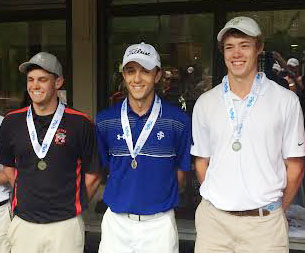 Class A medalist Christian Baliker (center) of St. Joseph's, second (right) Harry Reynolds of Christ Church, third (left) Grant Sellers from McBee.