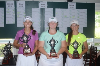 The girls 13-14 division winners, (l-r) Emily Dunlap, Katie Whitfield, Elle Johnson