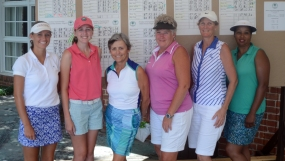 Flight winners at the WSCGA Amateur included (l-r) Jaelyn Tindal, Beth Ann Townsend, Louise Givens, Pam Prescott, Emily White and Jean Burns.