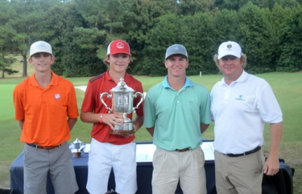 PGA Tour player William McGirt, a Chapman board member, congratulates the top-three golfers at this year's tournament. (l-r) Jacob Bridgeman, runner-up, Trent Phillips, champion,