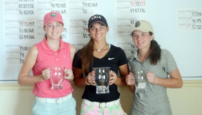 Elle Johnson (center) won the Transou Girls title in a playoff with Madison Isaacson (right). Beth Ann Townsend (left) finished third.