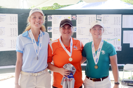 Emily Cox (center) champion, Peyton Gillespie (left) runner-up, Kathleen Sumner, (right) third place.