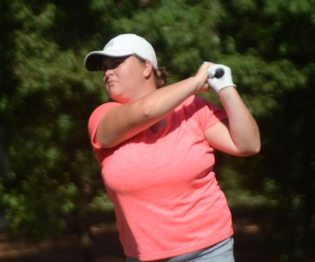 Emily Cox of Lancaster is the leader of the AAA state championship being played at Carolina Springs.