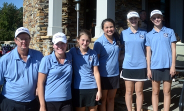 St. Joseph's tied for the top spot at the Upper State AAA tournament. The team included Coach Mark Matlock, Kaitlyn Dumit, Emma Curran, Reagan Lillibridge and Caleigh Noonan.
