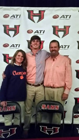 The Pattons celebrated Colby signing with Clemson. His father Chris was a three-time All-American and 1989 US Amateur Champion at the school.