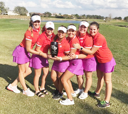 The Clemson women's team celebrated their first team victory in the four year history of the program (Clemson photo)