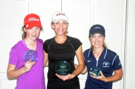 Jalen Castle (center) won the girls 11-14 year old division. Sarah Boteler finished second whileChloe Holder was third.