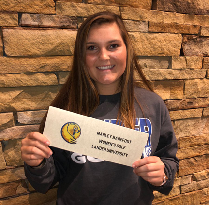 Marley Barefoot is going to Lander to play college golf. The River Bluff high school golfer won the Region 5 AAAAA individual title and a pair of PKB Tour one day tournaments. She also finished fourth in the SCJGA Caddie Classic.