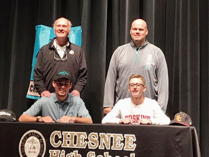 A pair of Chesnee golfers have signed on to play college golf in the state. Last week Garrett Cooper signed to play at Coastal Carolina. His teammate Colton Bridges will join the Erskine Flying Fleet golf team next year. The two helped lead Chesnee to a Class AA runner-up finish last year. Bridges finished as the individual runner-up.